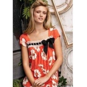 RicRac - Anthro   coral bow lace floral top